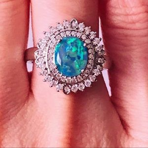 NEW! SPARKLING BLUE FIRE OPAL & CRYSTAL RING